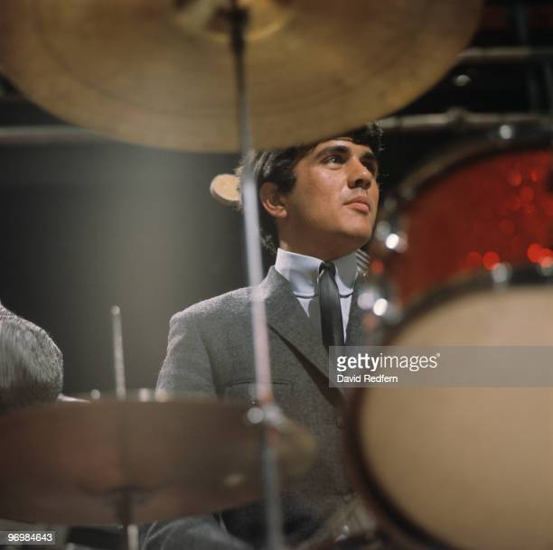Drummer Dave Clark of the Dave Clark Five performs on 'Ready Steady Go' television show filmed in London England in 1964