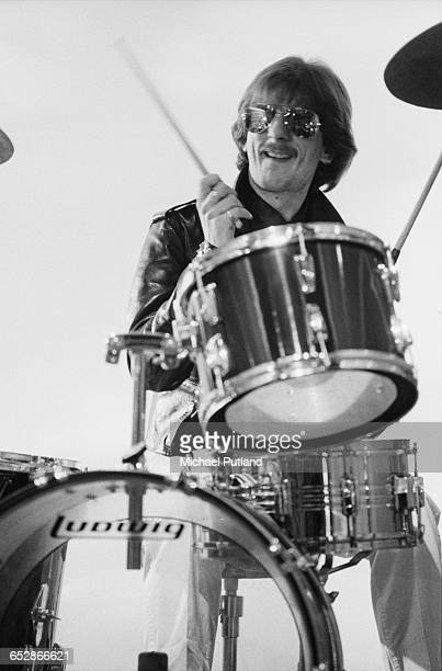 Drummer Dave Holland of British heavy metal band Judas Priest, at the video shoot for the group's single, 'Don't Go', January 1981.