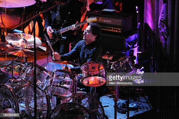 Drummer Dave Lombardo of Slayer performs during Varese Sarabande Worldwide 35th Anniversary Special Halloween Concert Gala at Warner Grand Theatre on...