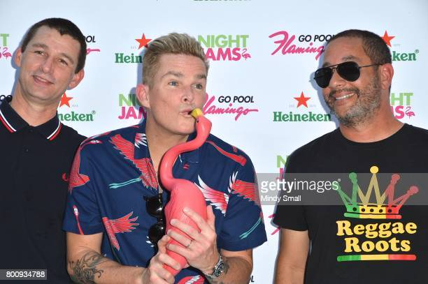 Drummer Dean Butterworth singer Mark McGrath and guitarist Rodney Sheppard of Sugar Ray arrive at the Flamingo Go pool at Flamingo Las Vegas on June...