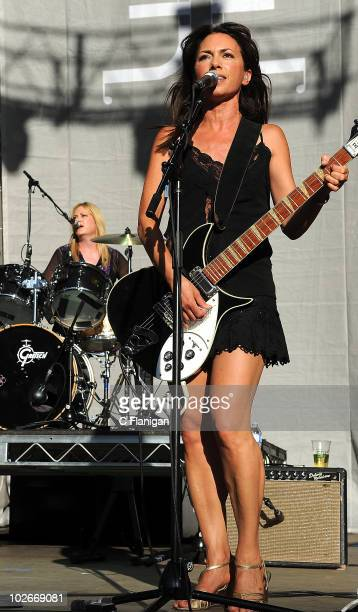 Drummer Debbi Peterson and Guitarist/Vocalist Susanna Hoffs of The Bangles perform during the 2010 Lilith Fair at the Shoreline Amphitheatre on July...