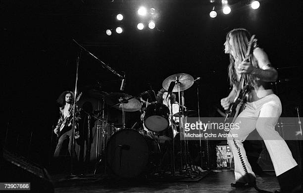 Drummer Don Brewer of Grand Funk Railroad performs during a concert on November 30, 1972 at the Forum in Inglewood, California.