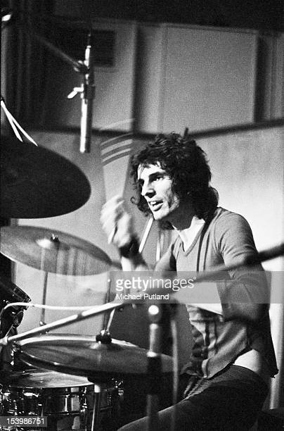 Drummer Don Powell of British rock band Slade recording a song at Command Studios London October 1971