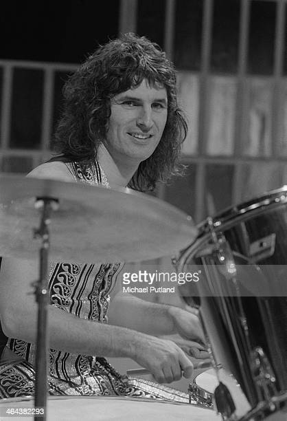 drummer Don Powell performing with English rock group Slade on the Christmas Day edition of the BBC TV music show 'Top Of The Pops' broadcast 25th...