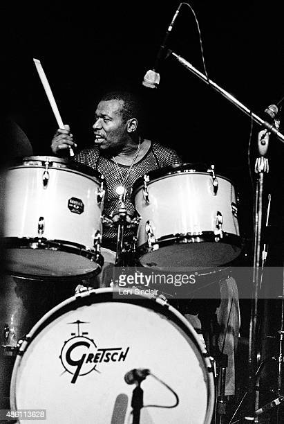 Drummer Elvin Jones performs at the Savoy Ballroom in January 1975 in Detroit Michigan