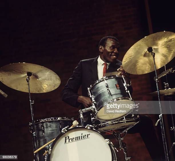 Drummer Elvin Jones performs on 'Jazz at the Maltings' BBC television show in 1969