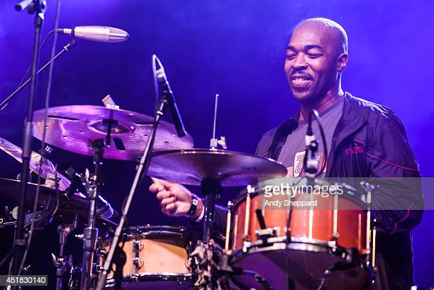 Drummer Eric Harland performs on stage with Dave Holland's Prism at Love Supreme Jazz Festival at Glynde Place on July 5, 2014 in Lewes, United...