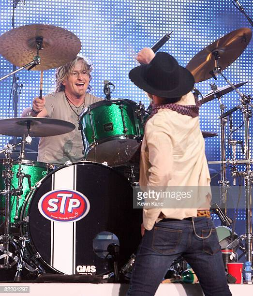Drummer Eric Kretz of the Stone Temple Pilots performs at the Nikon at Jones Beach Theater on August 6 2008 in Wantagh New York