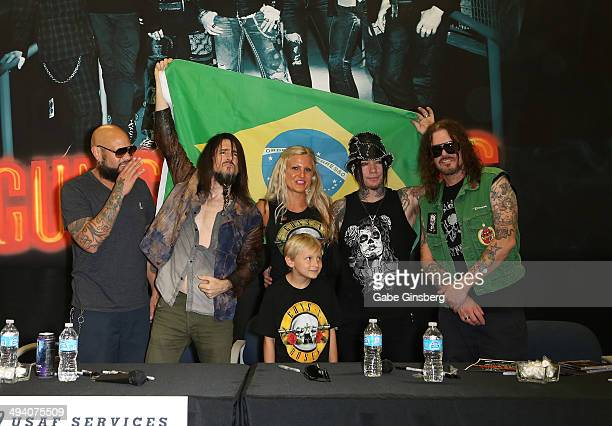 Drummer Frank Ferrer and guitarist Ron Bumblefoot Thal of Guns N' Roses Liziane Raley and her son Brendon Raley and guitarist Dj Ashba and...