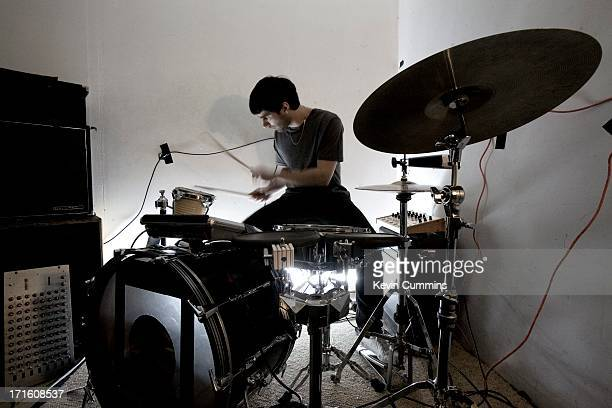 Drummer Gabriel Gurnsey Of Electronic Rock Band Factory Floor At A Rehearsal UK 15th December 2011