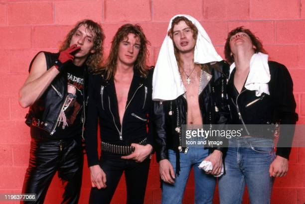 Drummer Gar Samuelson bassist and cofounder David Ellefson cofounder lead vocalist guitarist and primary songwriter Dave Mustaine and guitarist Chris...