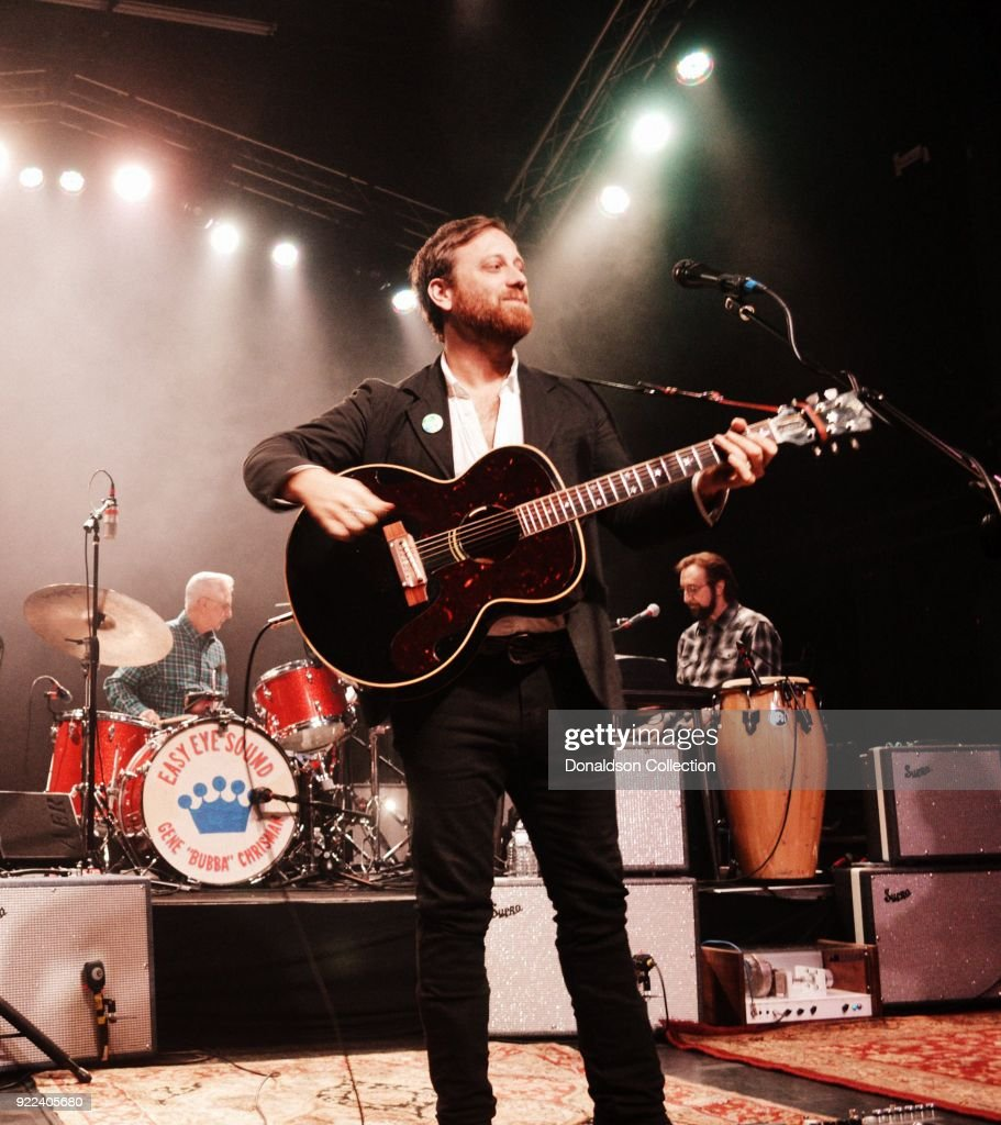 drummer Gene 'Bubba' Chrisma, Dan Auerbach and keyboardist Bobby Wood of the rock band 'Dan Auerbach and the Easy Eye Sound Revue' performs onstage at the Obervatory on February 18, 2018 in Santa Ana, California.