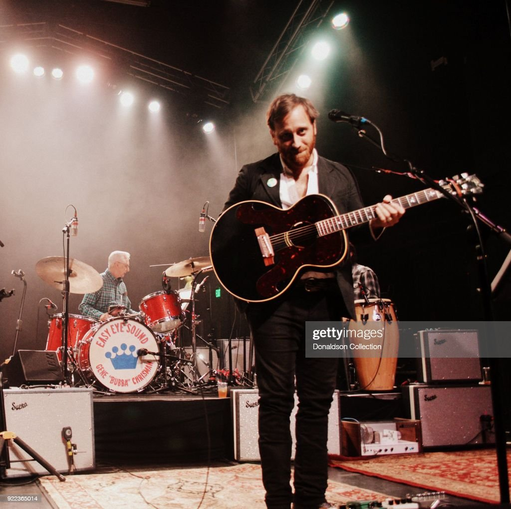 Drummer Gene 'Bubba' Chrisman and guitarist Dan Auerbach of the rock band 'Dan Auerbach and the Easy Eye Sound Revue' performs onstage at the Obervatory on February 18, 2018 in Santa Ana, California.