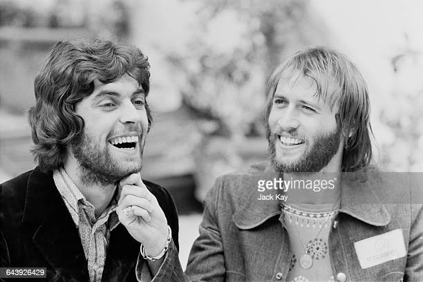 Drummer Geoff Bridgford with singer Maurice Gibb of the Bee Gees UK 11th June 1971 Bridgford briefly played drums for the Bee Gees between 1971 and...