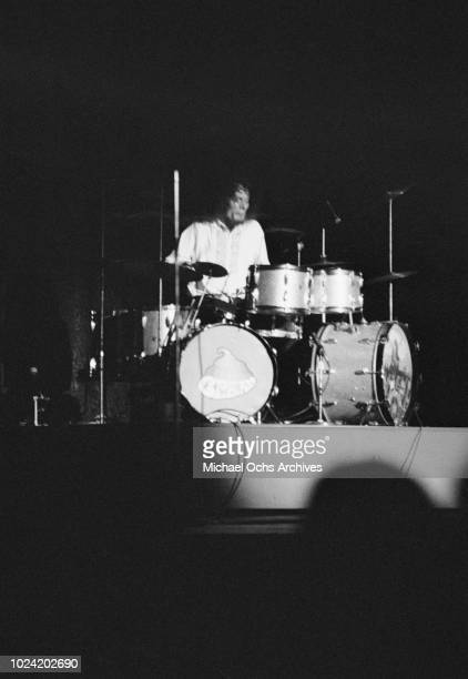 Drummer Ginger Baker of British rock band Cream in concert circa 1967