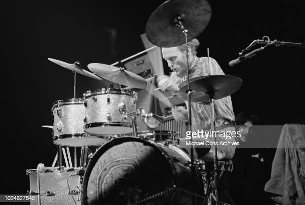 Drummer Ginger Baker of British rock band Cream in concert in Madison Square Garden, New York City, 2nd November 1968.