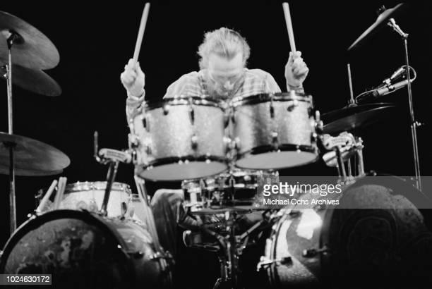 Drummer Ginger Baker of British rock band Cream in concert in Madison Square Garden New York City 2nd November 1968
