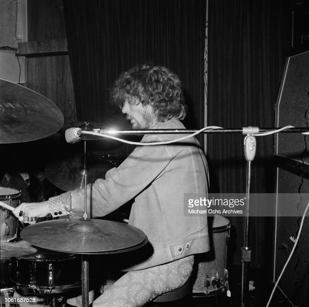 Drummer Ginger Baker of British rock band Cream in concert, USA, circa 1967.