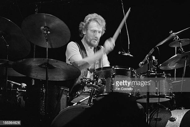 Drummer Ginger Baker of the Baker Gurvitz Army performs live on stage in Connecticut, USA in 1975.
