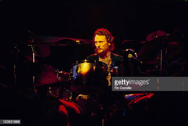 Drummer Ginger Baker of the Baker Gurvitz Army performs on stage in Connecticut in 1975