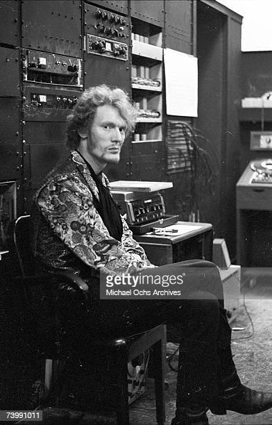 Drummer Ginger Baker of the rock band 'Cream' relaxes backstage at the Murray the K Music in the Fifth Dimension show at the RKO Theatre on March 31...