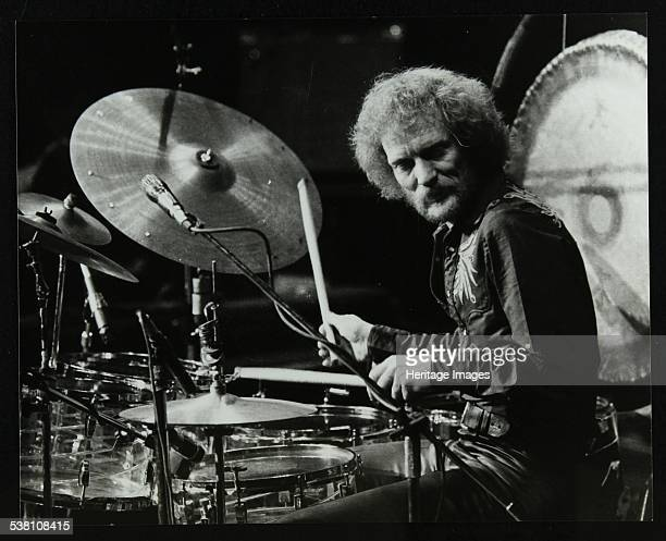 Drummer Ginger Baker performing with his band Energy at the Forum Theatre, Hatfield, Hertfordshire, 18 January 1980. Artist: Denis Williams.