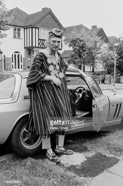 Drummer Ginger Baker wearing traditional African robes, pictured during the promotion of the 'Sunday Omnibus' showing of his documentary 'Ginger...