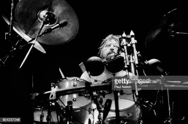 Drummer Graeme Edge of the Moody Blues performs at the Poplar Creek Music Theater in Hoffman Estates Illinois July 18 1981