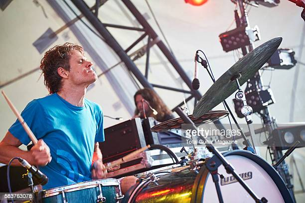 Drummer Greg Saunier of noise rock group Deerhoof performing live on stage at ArcTanGent Festival in Somerset on August 22 2015