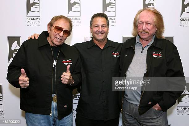 Drummer Hal Blaine filmmaker Denny Tedesco and pianist Don Randi at Reel to Reel The Wrecking Crew at The GRAMMY Museum on March 3 2015 in Los...
