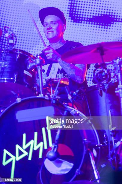 Drummer Hannah Blilie of Gossip performs on stage at SWG3 on July 19 2019 in Glasgow Scotland