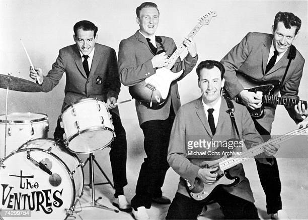 Drummer Howie Johnson guitarist Don Wilson bassist Nokie Edwards and guitarist Bob Bogle of the rock and roll band The Ventures pose for a portrait...