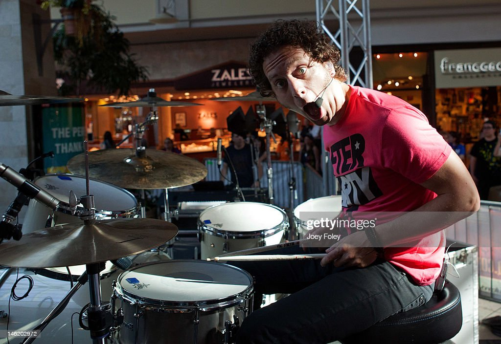 Drummer Ian Casselman Of The Rock Band Marianas Trench Joking Around As He  Performs Live Onstage