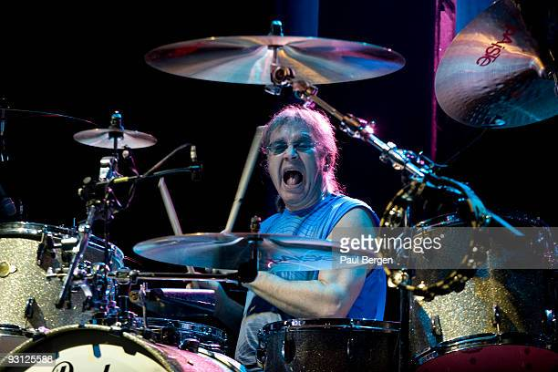Drummer Ian Paice of British rock band Deep Purple performs on stage at Heineken Music Hall on November 17 2009 in Amsterdam Netherlands