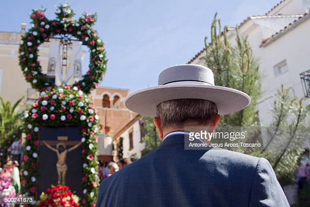 CONTENT] Drummer in Almonaster la Real Huelva looking at the Cross of May of the Santa Cruz del Llano dressed in the costume of flamenco and wearing...