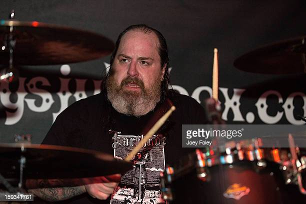 Drummer 'Iron' Bob Fouts of The Gates Of Slumber performs at Indy's Jukebox on January 11 2013 in Indianapolis Indiana