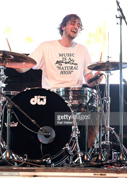 Drummer Jayson Gerycz of Cloud Nothings performs onstage during day 1 of the 2015 Coachella Valley Music Arts Festival at the Empire Polo Club on...
