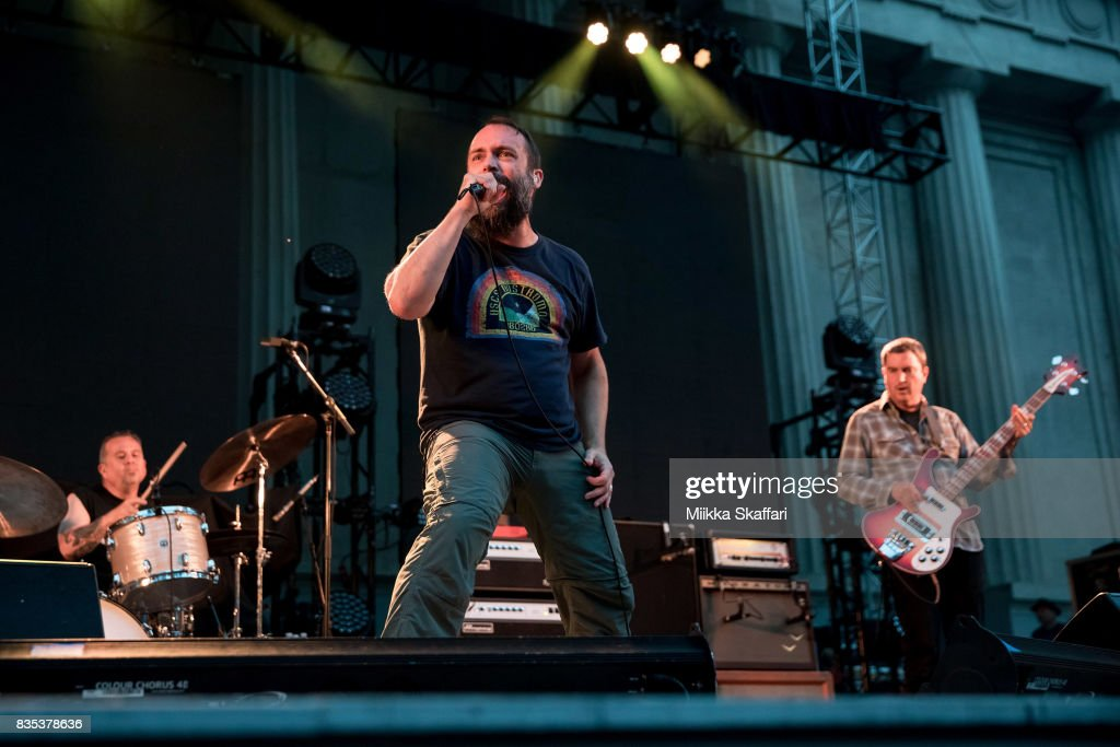 Drummer Jean-Paul Gaster, vocalist Neil Fallon and bassist Dan Maines of Clutch perform at The Greek Theater on August 18, 2017 in Berkeley, California.