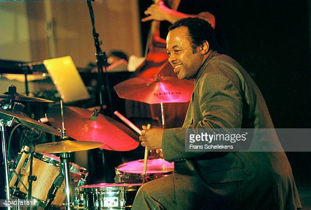 Drummer Jeff 'Tain' Watts performs on stage with Branford Marsalis at The North Sea Jazz Festival on July 9 1997 in The Hague, Netherlands.