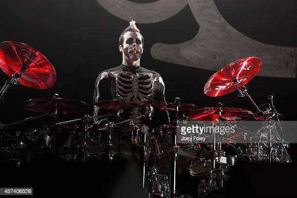 Drummer Jeremy Spencer of Five Finger Death Punch performs live onstage during the 2014 Louder Than Life Festival at Champions Park on October 5 2014...