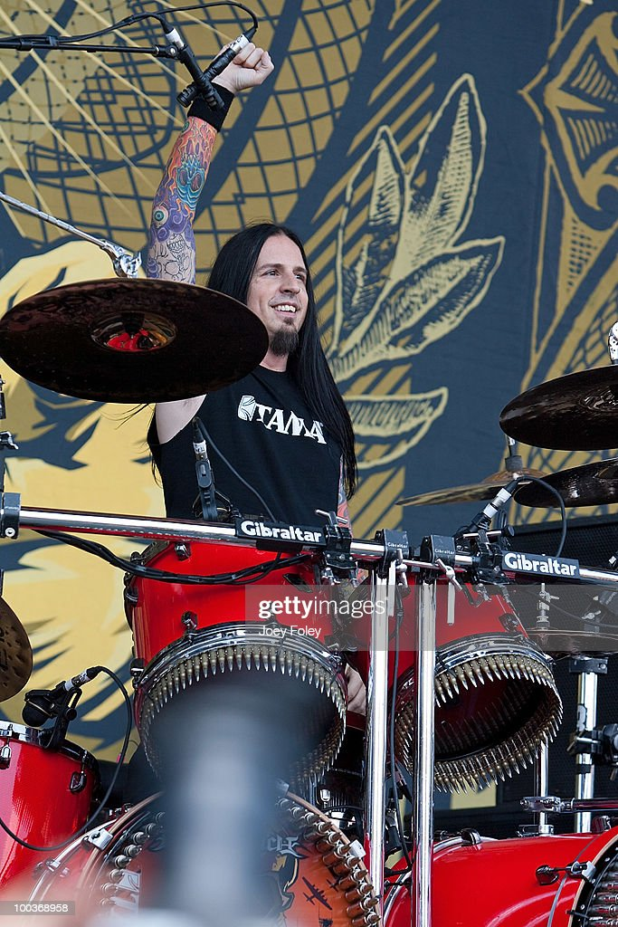 Drummer Jeremy Spencer of Five Finger Death Punch performs onstage during the 2010 Rock On The Range festival at Crew Stadium on May 23, 2010 in Columbus, Ohio.