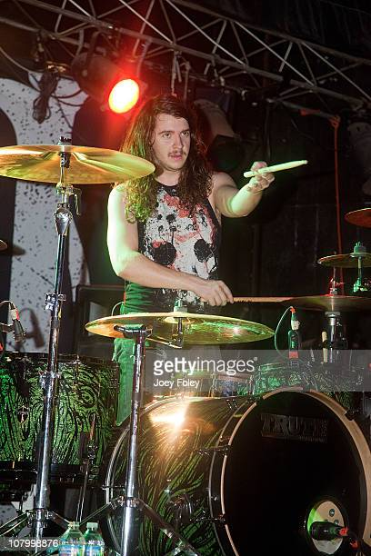 Drummer Jerod Boyd of Miss May I performs in concert in front of a soldout crowd at The Emerson Theater on January 11 2011 in Indianapolis Indiana