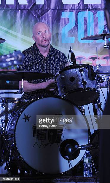Drummer Jerome Augustyniak of 10000 Maniacs perform 10000 Manics The Smithereens In Concert at Union County Performing Arts Center on August 25 2016...