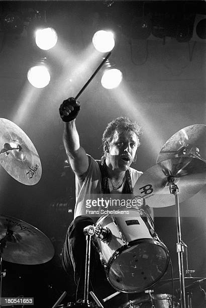 Drummer Jerry LeBloch performs with Rare Earth at the Paradiso in Amsterdam, Netherlands on 8th February 1989.