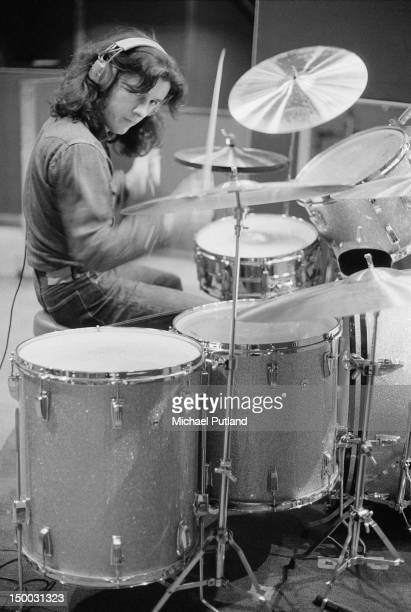 Drummer Jerry Shirley recording the album 'Smokin'' with English rock group Humble Pie at Olympic Studios Barnes London 20th January 1972