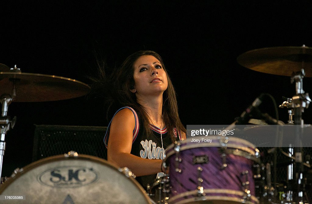 Drummer Jess Bowen of The Summer Set performs onstage during the 2013 Van Warped Tour at Riverbend Music Center on July 30, 2013 in Cincinnati, Ohio.