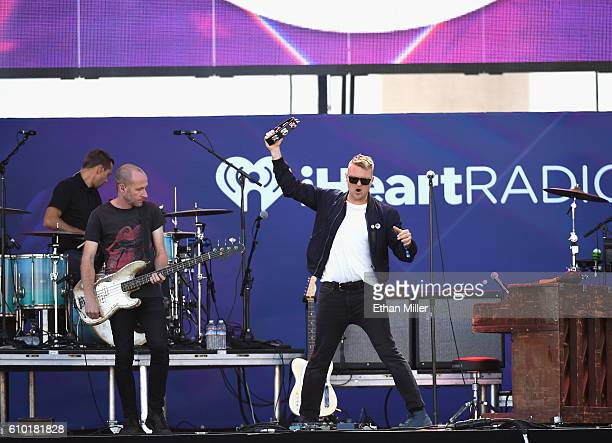 Drummer Joe Plummer bassist Matt Maust and frontman Nathan Willett of Cold War Kids perform onstage during the 2016 Daytime Village at the...