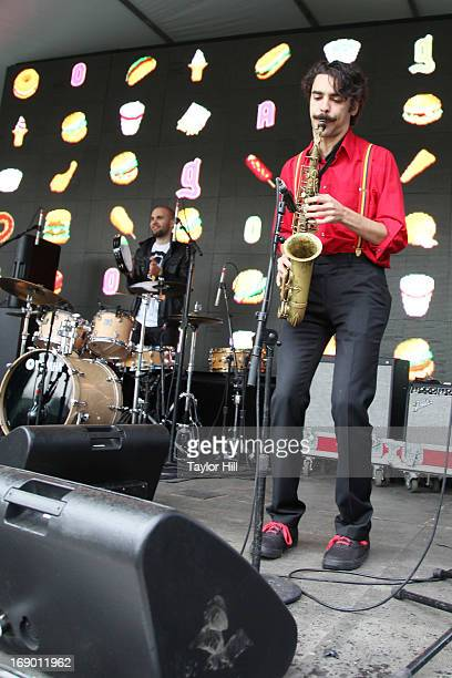 Drummer Joe Saylor and saxophone player Eddie Barbash of Jonathan Batiste and the Stay Human Band perform on day 2 of the Great GoogaMooga in...
