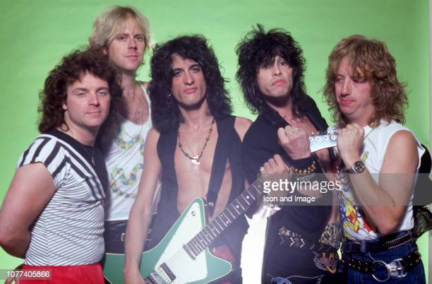 Drummer Joey Kramer guitarist Brad Whitford guitarist Joe Perry singer Steven Tyler and bassist Tom Hamilton of the rock group Aerosmith pose for a...