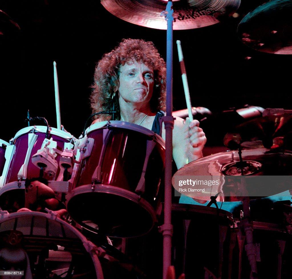 Drummer Joey Kramer of Aerosmith performs at The OMNI Coliseum in Atlanta Georgia May 05, 1990
